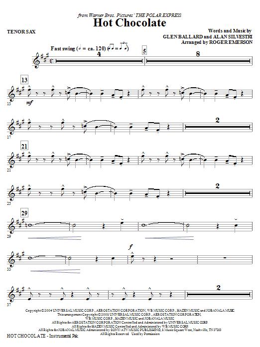 Hot Chocolate (from The Polar Express) - Tenor Sax (Choir Instrumental Pak)