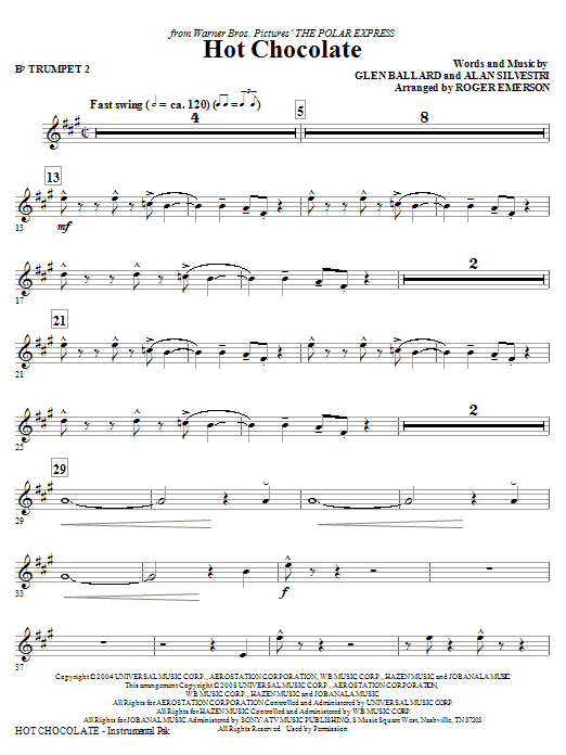 Hot Chocolate (from The Polar Express) - Bb Trumpet 2 (Choir Instrumental Pak)