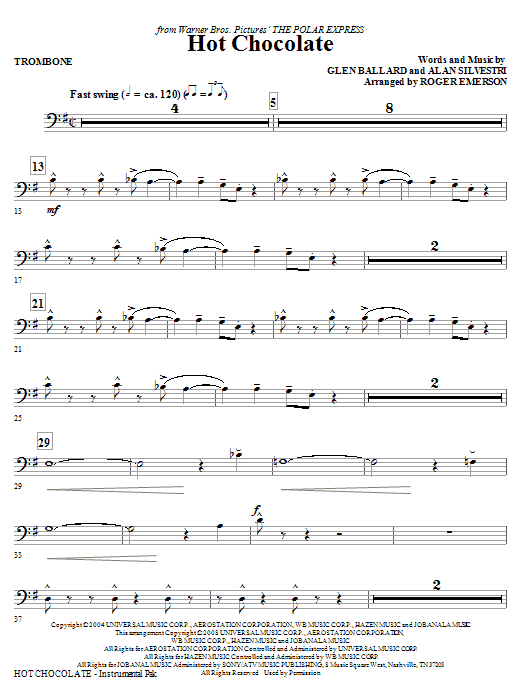 Hot Chocolate (from The Polar Express) - Trombone (Choir Instrumental Pak)
