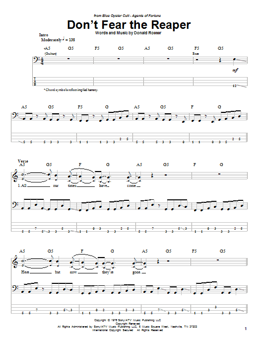 Tablature guitare Don't Fear The Reaper de Blue Oyster Cult - Tablature Basse