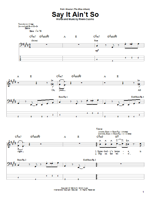 Say It Ain't So (Bass Guitar Tab)