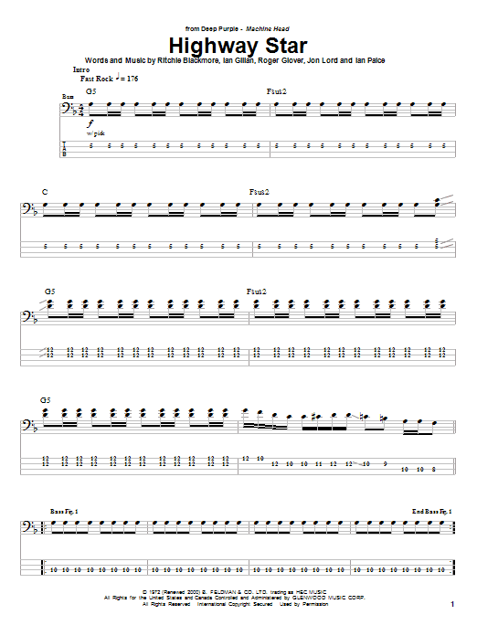 Tablature guitare Highway Star de Deep Purple - Tablature Basse