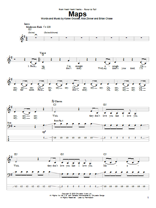 Maps (Bass Guitar Tab)