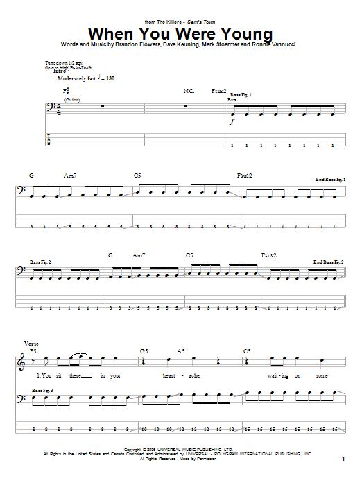 When You Were Young (Bass Guitar Tab)