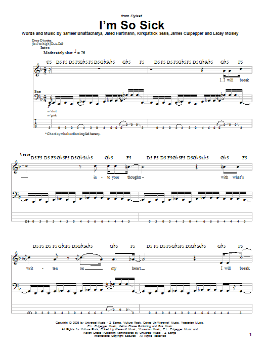 Tablature guitare I'm So Sick de Flyleaf - Tablature Basse
