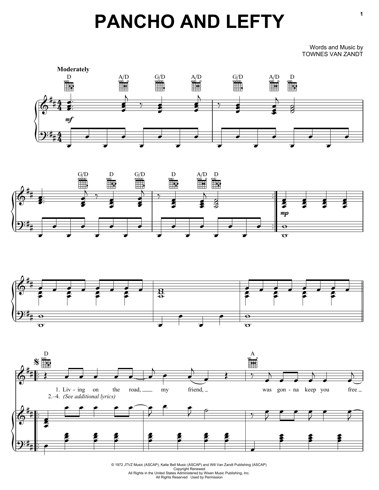 Pancho And Lefty (Piano, Vocal & Guitar (Right-Hand Melody))