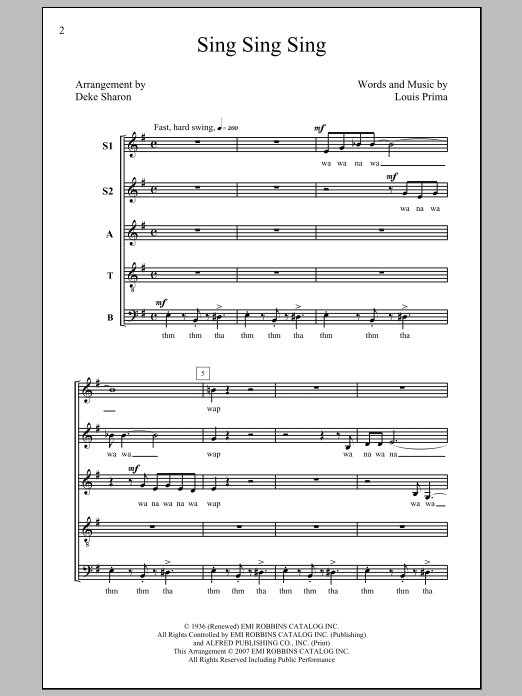 Sing, Sing, Sing (arr. Deke Sharon) Sheet Music
