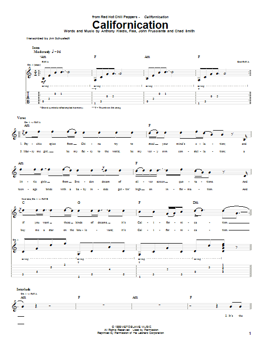 Tablature guitare Californication de Red Hot Chili Peppers - Tablature Guitare