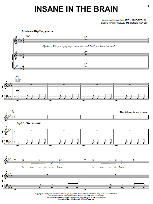Insane In The Brain Sheet Music