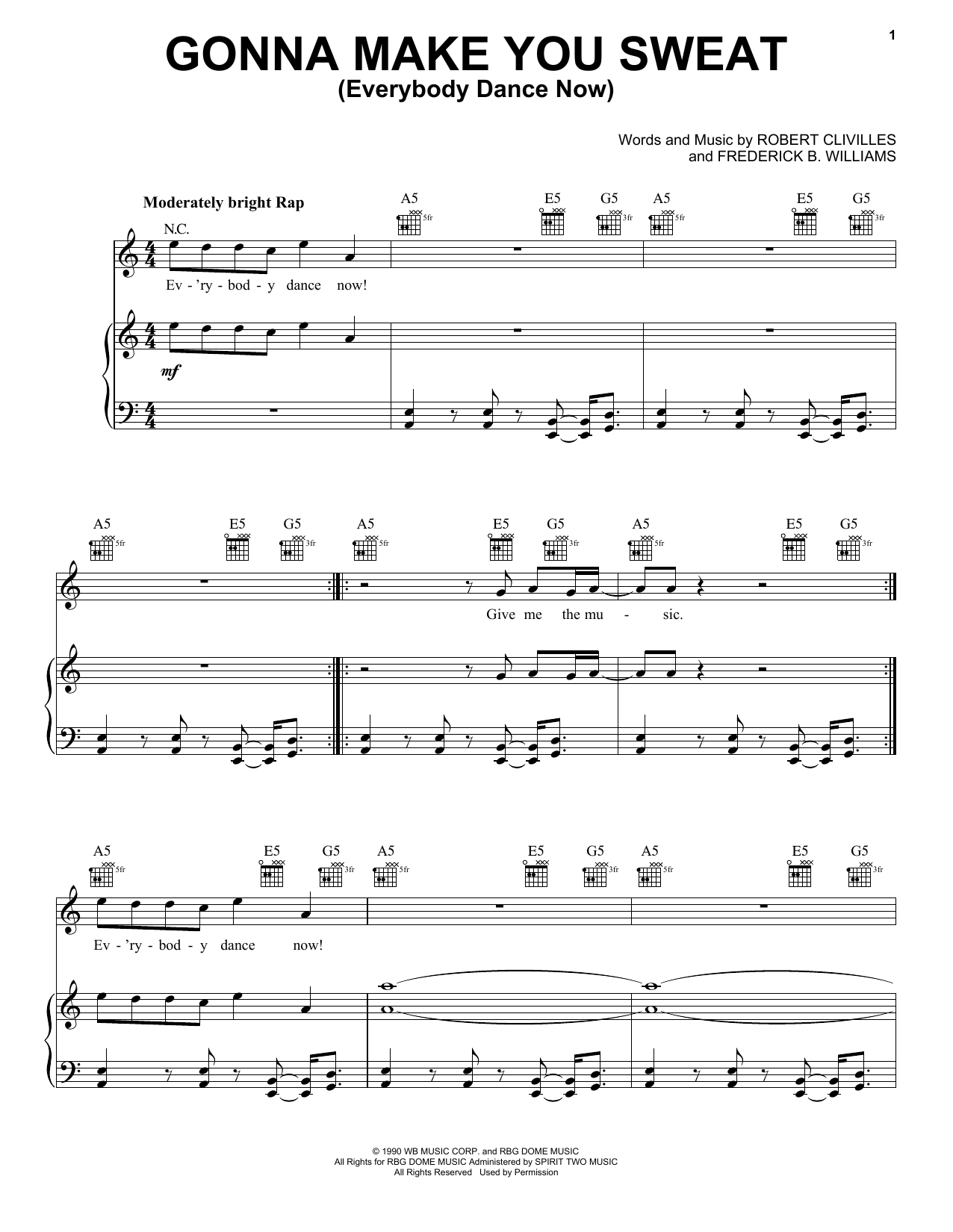 Gonna Make You Sweat (Everybody Dance Now) Sheet Music