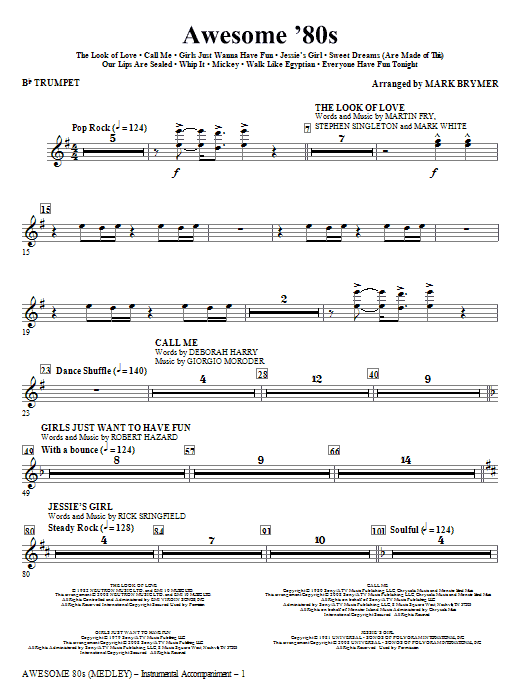 Awesome '80s (Medley) (complete set of parts) sheet music for orchestra/band (chamber ensemble) by Mark Brymer. Score Image Preview.