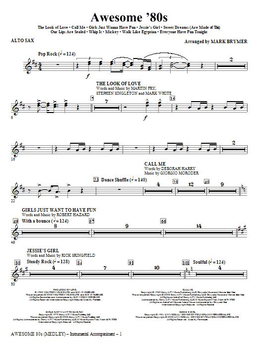 Awesome '80s (Medley) - Alto Sax (Choir Instrumental Pak)
