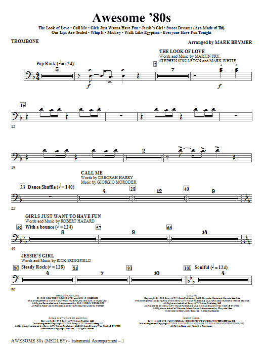 Awesome '80s (Medley) - Trombone (Choir Instrumental Pak)