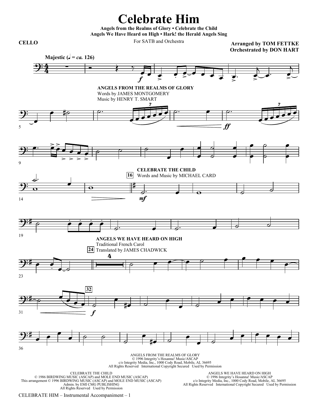 Celebrate Him (Medley) - Cello Sheet Music