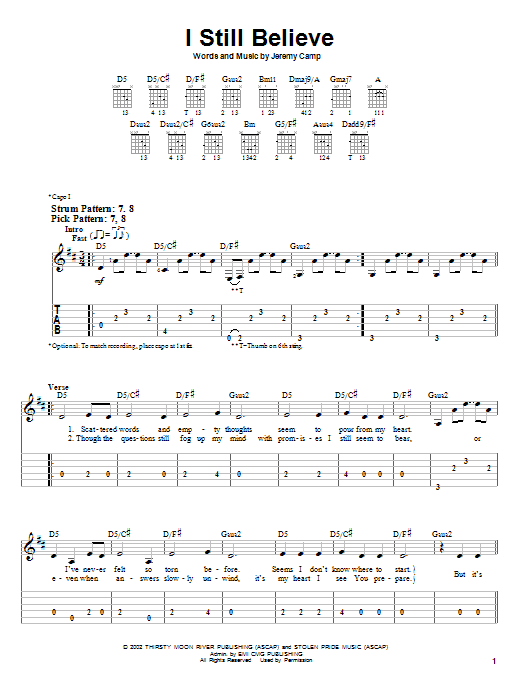 I Still Believe (Easy Guitar Tab)