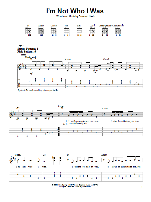 I'm Not Who I Was (Easy Guitar Tab)