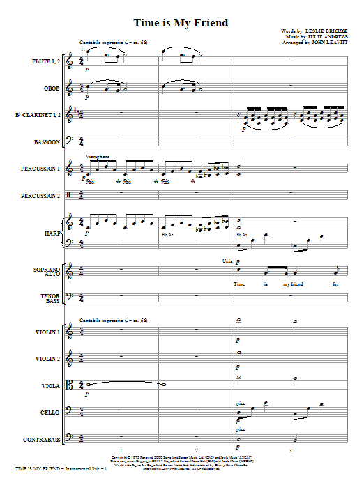 Time Is My Friend (COMPLETE) sheet music for orchestra/band (chamber ensemble) by Leslie Bricusse, Julie Andrews and John Leavitt. Score Image Preview.