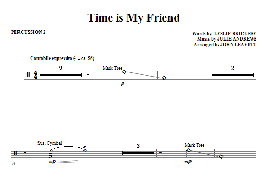 Time Is My Friend - Percussion 2 (Choir Instrumental Pak)