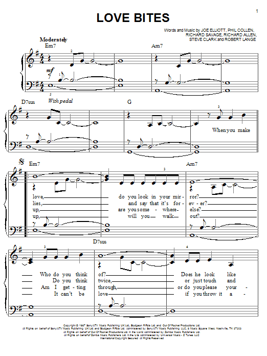 Partition piano Love Bites de Def Leppard - Piano Facile