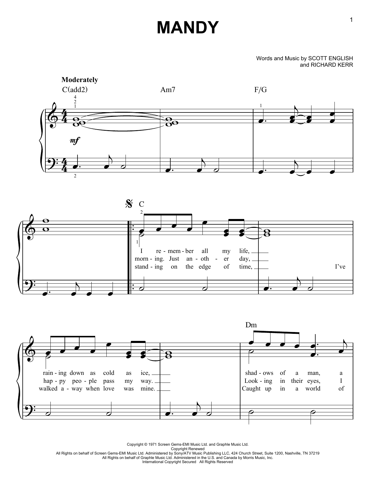 Mandy Sheet Music