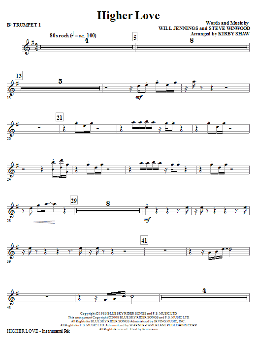 Higher Love (complete set of parts) sheet music for orchestra/band (chamber ensemble) by Will Jennings, Steve Winwood and Kirby Shaw. Score Image Preview.