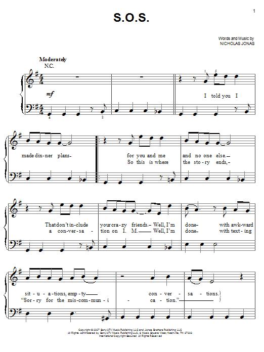 Partition piano S.O.S. de Jonas Brothers - Piano Facile