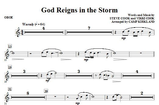 God Reigns In The Storm - Oboe Sheet Music