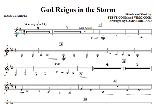 God Reigns In The Storm - Bass Clarinet Sheet Music