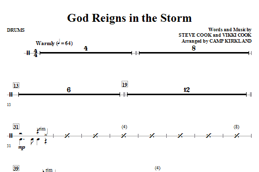 God Reigns In The Storm - Drum Set Sheet Music