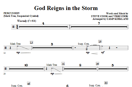 God Reigns In The Storm - Percussion Sheet Music