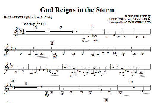 God Reigns In The Storm - Clarinet 3 (Sub. Viola) Sheet Music
