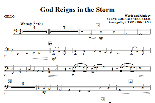 God Reigns In The Storm - Cello Sheet Music