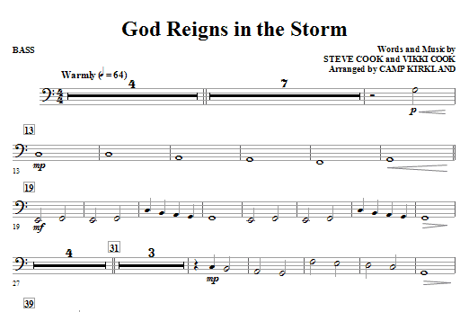 God Reigns In The Storm - String Bass Sheet Music
