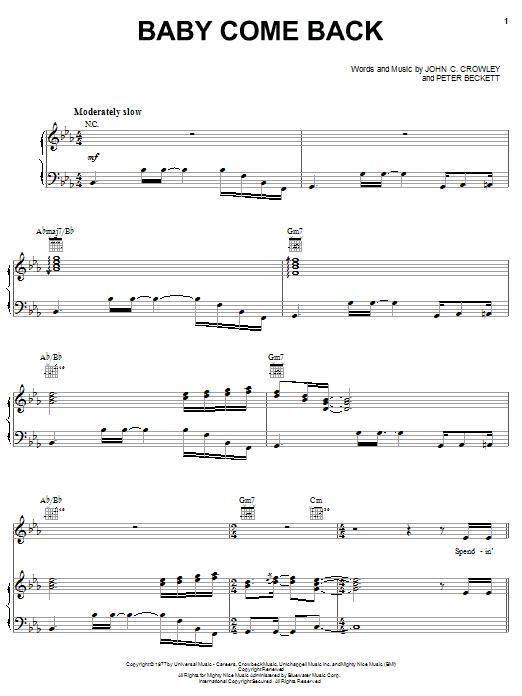 Partition piano Baby Come Back de Player - Piano Voix Guitare (Mélodie Main Droite)