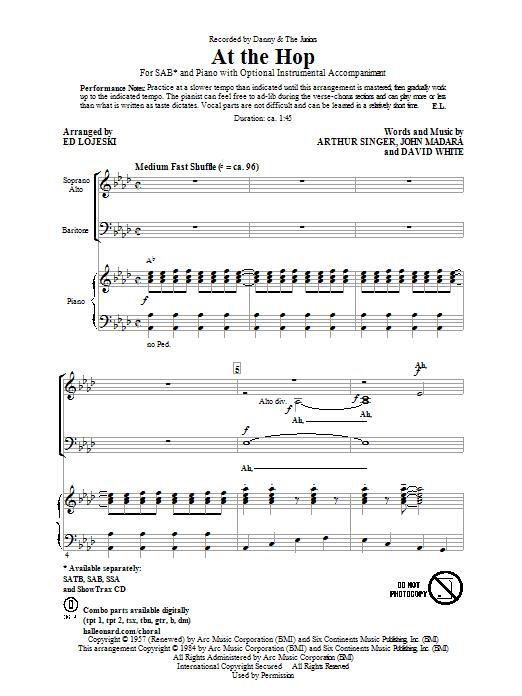 Partition chorale At The Hop de Danny & The Juniors - SAB