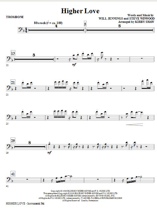 Higher Love - Trombone (Choir Instrumental Pak)