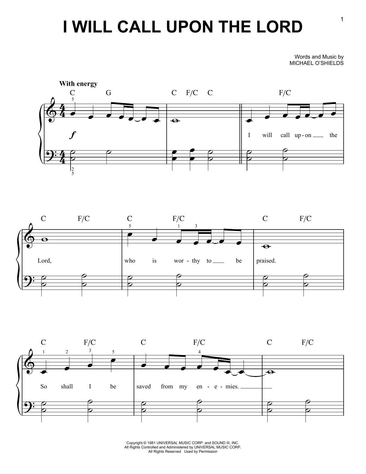 Partition piano I Will Call Upon The Lord de Michael O'Shields - Piano Facile