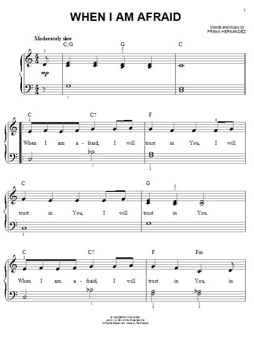 When I Am Afraid (Easy Piano)