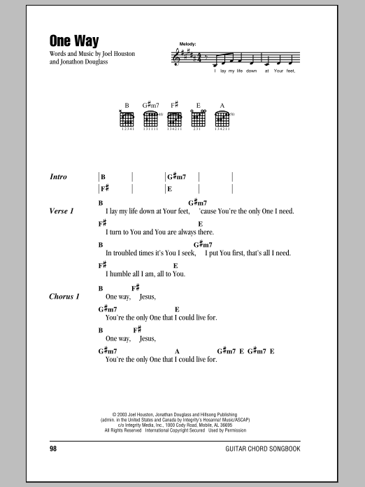 One Wayhillsong United Guitar Chords Lyrics