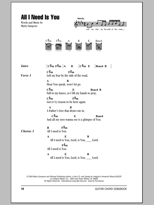 All I Need Is You Sheet Music By Hillsong United Lyrics Chords