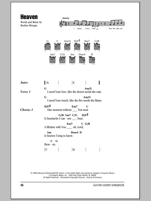 Hillsong United - Guitar Chord Songbook Sheet Music by No Composer ...