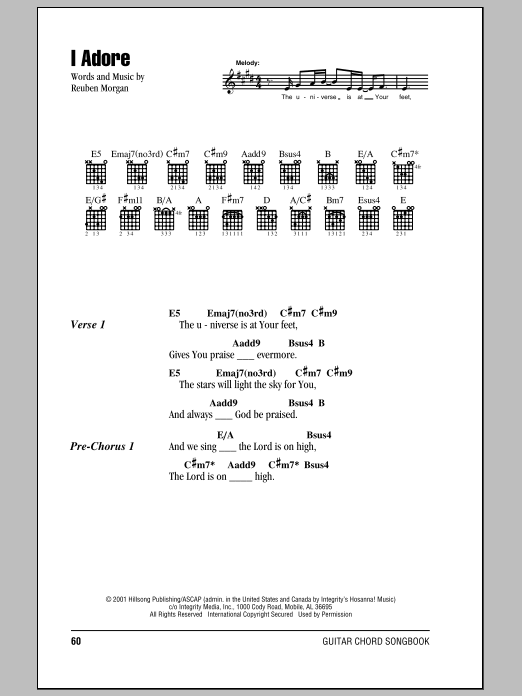 I Adore (Guitar Chords/Lyrics)