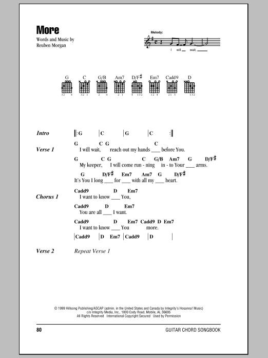 More (Guitar Chords/Lyrics)