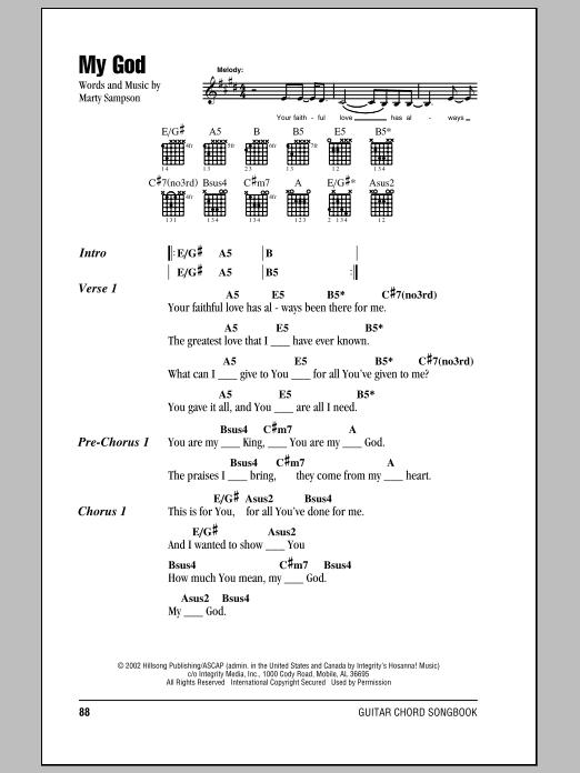 My God (Guitar Chords/Lyrics)