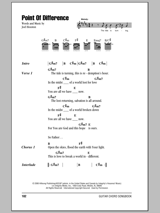 Point Of Difference (Guitar Chords/Lyrics)