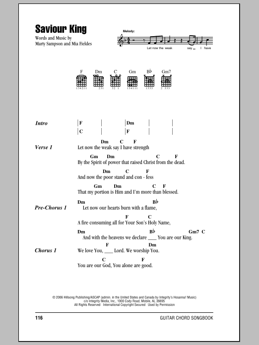 Saviour King Sheet Music Direct