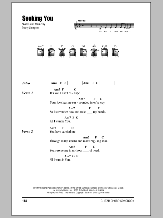 Seeking You by Hillsong United - Guitar Chords/Lyrics - Guitar