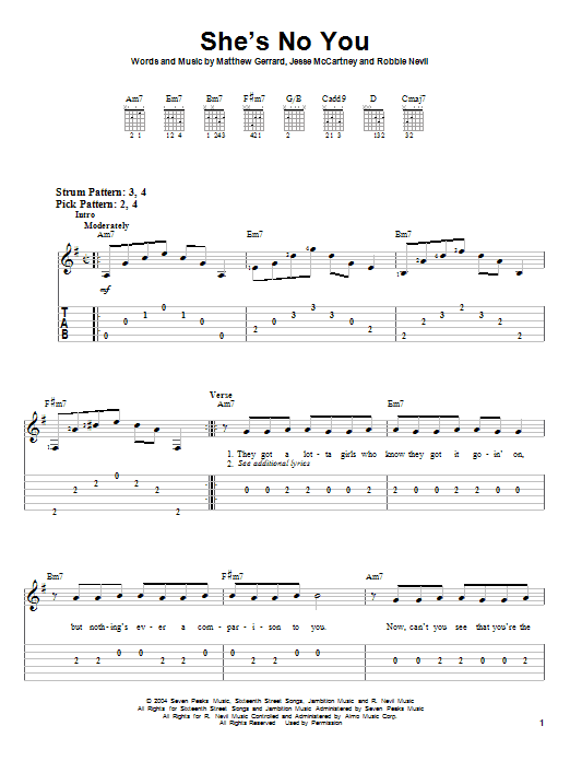 She's No You (Easy Guitar Tab)