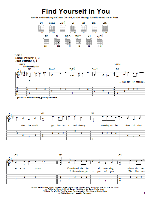 Find Yourself In You (Easy Guitar Tab)