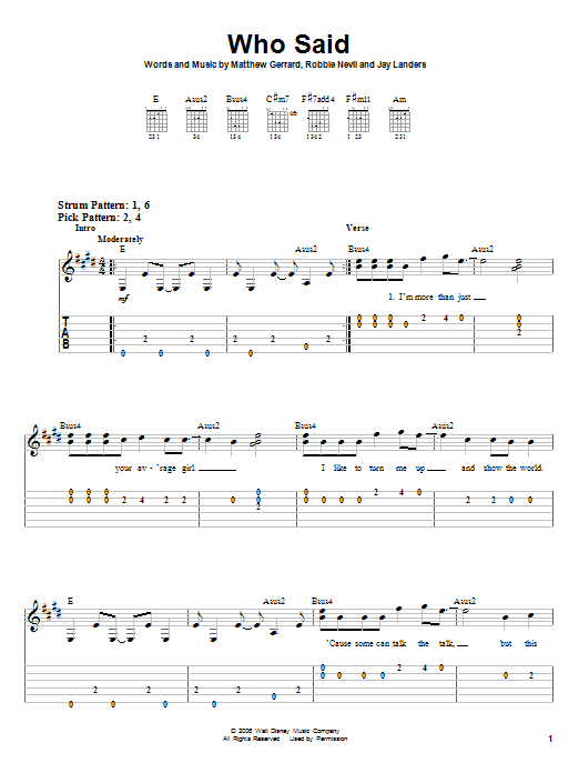 Tablature guitare Who Said de Hannah Montana - Tablature guitare facile